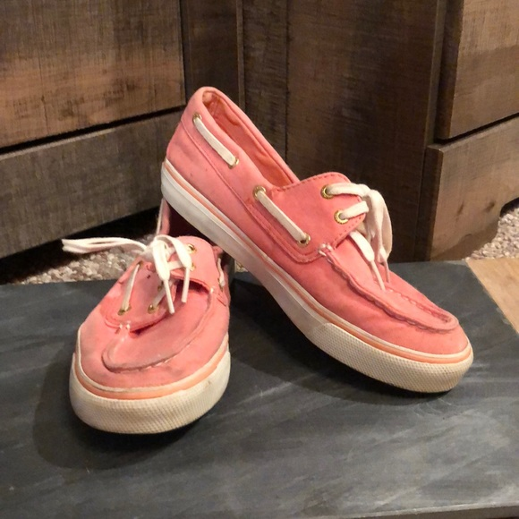 Sperry coral loafers.
